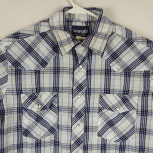 Pearl Snap Plaid Button Shirt Country Western